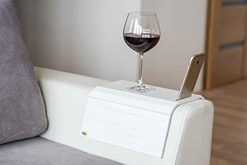 Bandeja de madera para reposabrazos de sofá o mesa, soporte para teléfono (blanco)