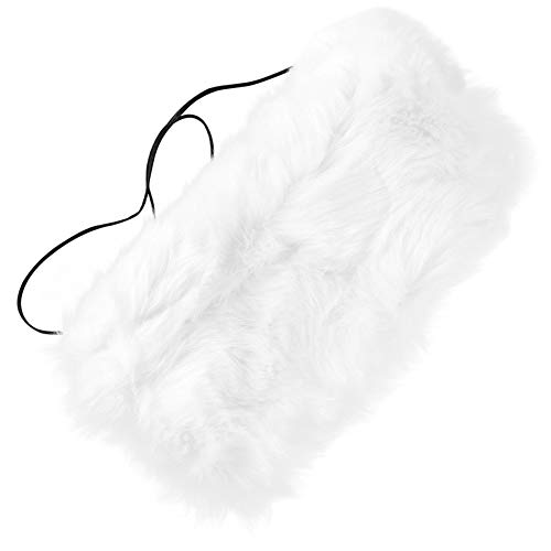 ZPFDM Faux Fur Hand Muffs,Thickened Fox Fur Gloves, Plush Faux Fur Hand Warmer, Christmas and New Year Gifts for The Elderly, Friends, Relatives, Colleagues