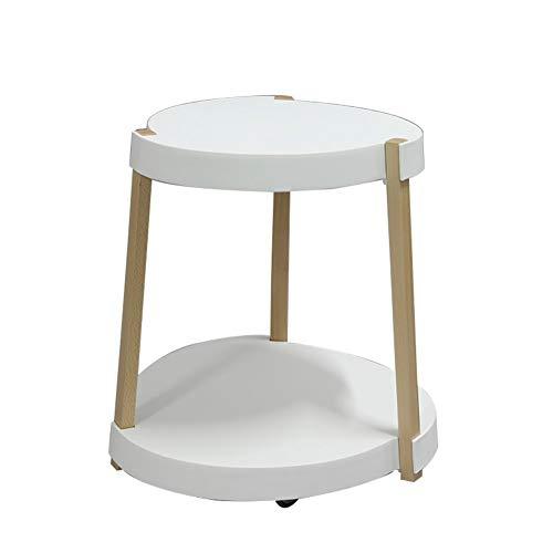 Mesa de café pequeña móvil pequeña mesa de café, moderna creativa, casual, esquina multifunción, mesa de café con ruedas, mesa auxiliar blanca