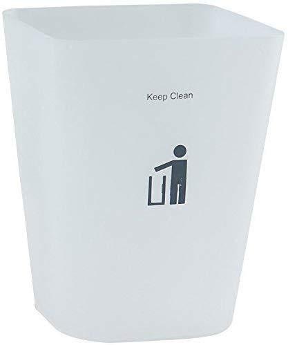 BBGSFDC Cubo de basura con tapa de plástico esmerilado simple cuadrado para la familia, sala de estar, cocina, baño, cubo de basura HAIKE (color: blanco)