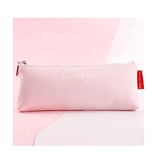 ZANZAN Funda de lápiz de Lona de Gran Capacidad Simple con Cremallera, Bolsa de cosméticos Multifuncional Papelería portátil Bolsa de Almacenamiento-6 Colores (Color : Pink)