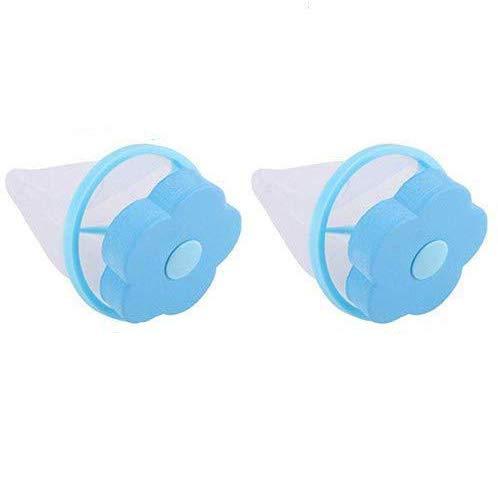 LINSKO 洗濯ゴミ集める洗濯用品 糸くず取り洗濯ボール 毛髪フィルター洗濯機専用 梅型ランドリーネット 浮かべる洗浄ネット 淡い青 2枚