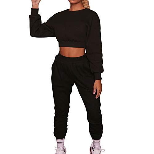 Shujin Damen Jogginganzug Trainingsanzug aus Langarm Bauchfrei Sweatshirt mit Jogginghose Sportswear 2 Stück Outfit Set Frauen Yoga Fitness Freizeitanzug