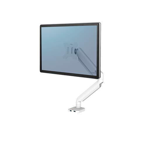 Fellowes 8056201 - Brazo de Monitor Individual Platinum Series, tecnología de muelles de Gas, 2 Puertos USB, Color Blanco ⭐