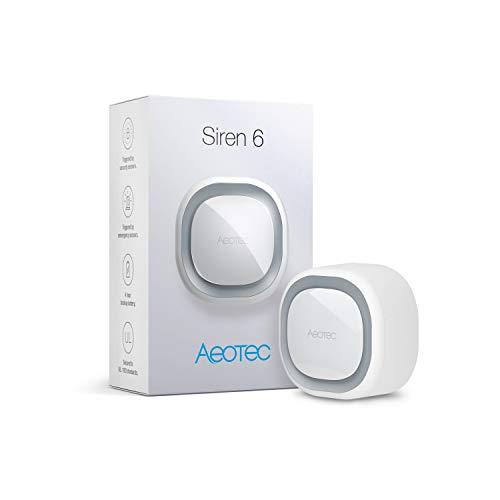 Aeotec Z-Wave Siren 6, Altavoz de Seguridad y Protección con Z-Wave Plus S2, Alarma Contra Intrusos de Seguridad con luz y Sonido Montada en la Pared con batería de Respaldo, 110dB