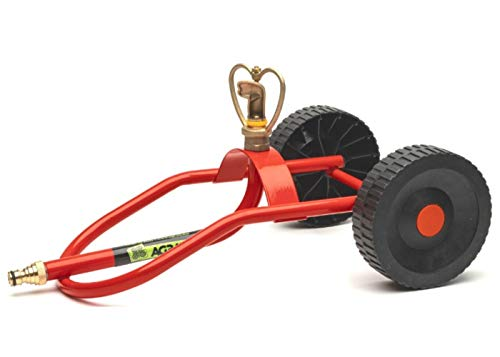 Kings County Tools Lawn & Garden Sprinkler Sled with Wheels   Italian-Made Design   Stay Dry When Moving   Stable Staying Upright When Rolling   Butterfly-Shaped Brass Head