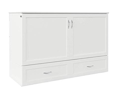 Find Bargain Atlantic Furniture Hamilton Murphy Bed Chest with Charging Station & Mattress, Queen, W...