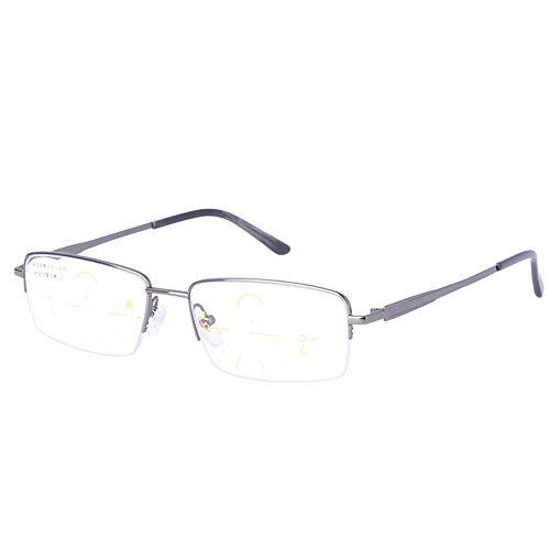 Gafas De Lectura con Luz Anti-Azul, Visión A Distancia para Hombres, Lente Multifocal Progresiva, Resina, Presbicia, Hipermetropía, Gafas Ópticas,Plata,+1.00