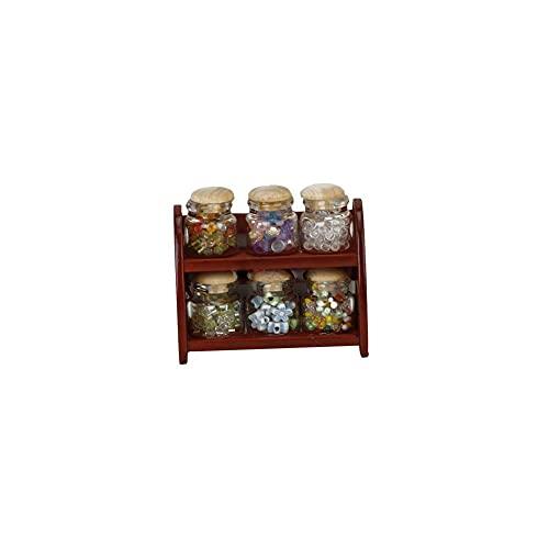 Tuimiyisou Mini estantes Modelo Muebles de casa de muñecas con Cocina Tarro de Galletas de Color Caoba Modelo 12.01