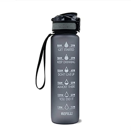 BARLEY Botella de Agua Deportiva de 35.2oz. BPA Gratis, Fácil de Llevar Tiempo Agua Escala de Volumen Deportes Agua Agua Jarra Fitness Relojamiento de Agua (Color : Gris)