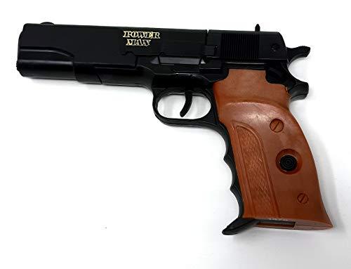 Brigamo Spielzeug Pistole Beretta Spielzeug Waffe mit Holzgriff Optik, Kinder Pistole für Polizei Kostüm