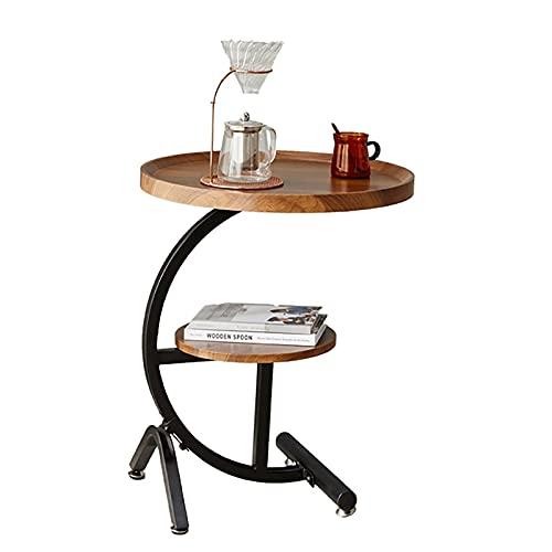 BYZHP Mesa Auxiliar Mesita de Café Tabla Redonda de la Mesa Redonda de Madera Redonda 2 Nivel de café con Patas de Metal Negro Mesa de sofá Mesa de Noche pequeña para la Oficina de la Sala de Estar