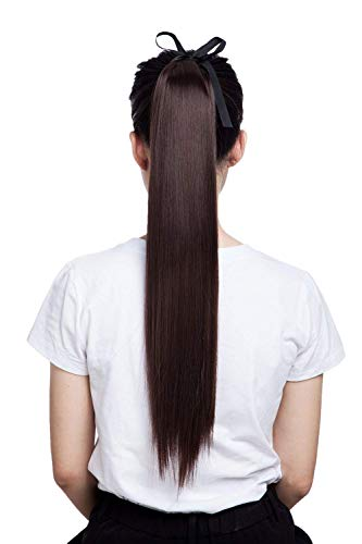 Marrom escuro, laço de rabo de cavalo em uma peça com cordão para rabo de cavalo, extensões de cabelo para encadernação rabo de cavalo longo liso encaracolado para mulheres, 56 cm liso