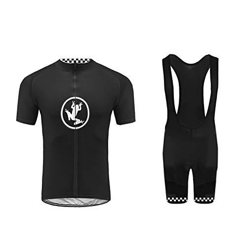Uglyfrog -Set Moda Maglia Ciclismo Jerseys per Uomo Corta Manica Tuta Estivo + Pantaloni Corti di Ciclismo Abbigliamento Ciclismo Sportivo Professionale Traspirazione Comodo