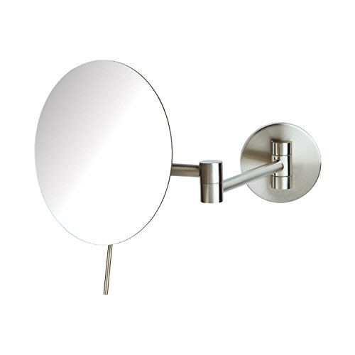 "Sharper Image JRT685N 7.75"" Slim Line Wall Mount 5x Magnification Mirror With Tilt adjustment, Nickel"