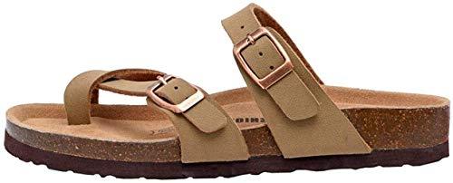 Sandalias para Mujer con Punta Abierta, Cuero Cómodas de Playa con Hebilla Zuecos Sandalias para Verano Zapatillas de Corcho Regalo, Talla 36-42,Beige,40