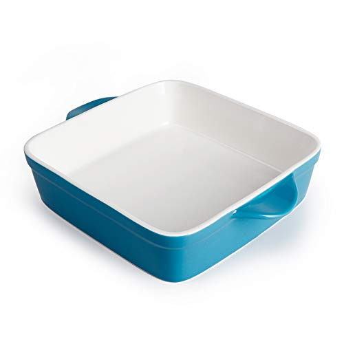 Sweese 514.107 Porcelain Baking Dish, 8 x 8 inch Baker, Square Brownie Pan with Double Handle, Steel Blue