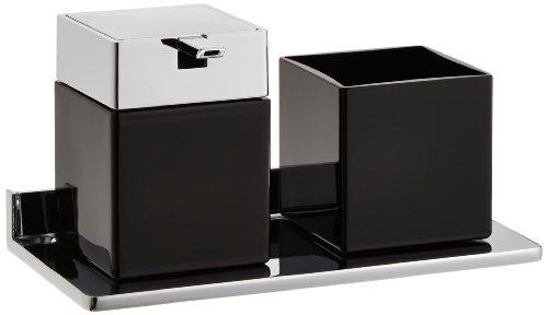 Emco glashouder en zeepdispenser Asio kristalglas, 1 stuk zwart/chroom.