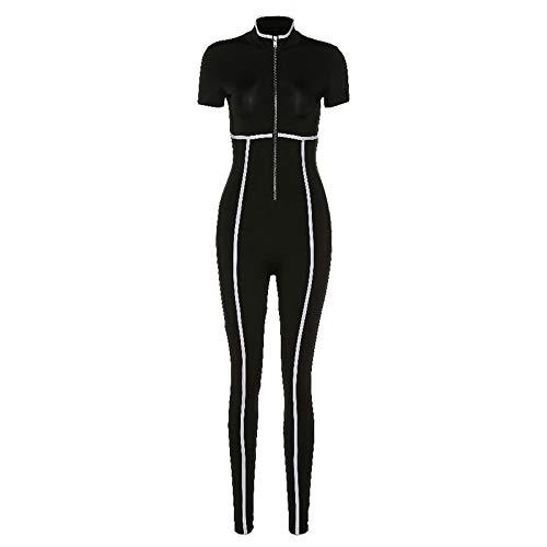 Mono deportivo para mujer, diseño de rayas, con cremallera, color negro