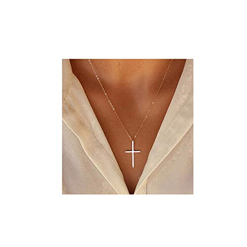 XOYOYZU Tiny Cross Pendant Necklace for Women Simple Cross Necklaces Mothers Day Birthday Gifts for Women Girl Vertical Cross