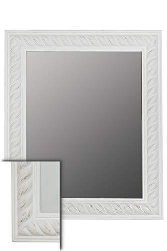 elbmöbel Wand-Spiegel weiß 62x52cm im Holzrahmen Badspiegel Shabby Chic Spiegelfläche