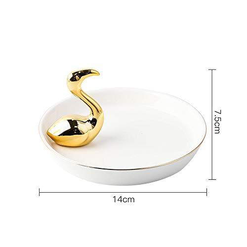 WZNING Creative Flamingo Ceramic sieraden lade Rack Tray Slaapkamer Trinkets Decoration Ring Armbanden Sieraden Plate Organizer Perfect for het houden van kleine Sieraden, ringen, kettingen, oorbellen