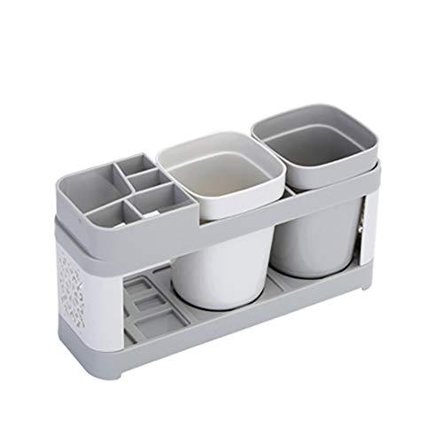 Banth Juego de vasos para cepillos de dientes, diseño creativo de familia y parejas, soporte para cepillos de dientes, soporte para vasos con dos tazas