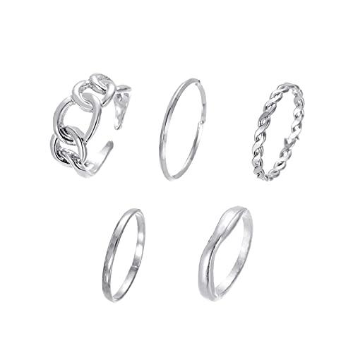 Yienate Juego de anillos de nudillos bohemios para juntas huecas, índice, anillos de dedo de diseño único, anillos de banda abierta para mujeres y adolescentes (5 piezas) (plata)