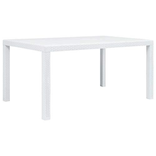 vidaXL Table de Jardin Blanc 150x90x72 cm Plastique Aspect Rotin Terrasse