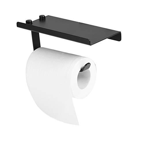 Wandrolhouder, waterdicht, ruimte van aluminium, voor badkamer, toiletpapierhouder, houder voor telefoonrek, tablet, zwart