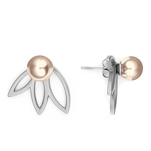 Heideman Ohrringe Damen Flora 3 aus Edelstahl silber farbend poliert Ohrstecker für Frauen 2 in 1 Doppelstecker mit Swarovski Perle platin farbend rund 8mm
