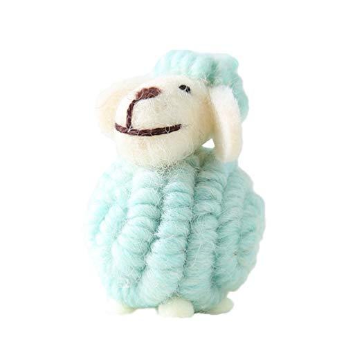 LIOOBO Fieltro Adornos de ovejas Colgantes de árboles de Navidad Animal de Peluche Colgantes Figuras de Navidad Fieltro de Lana decoración para el hogar de Vacaciones (Azul)