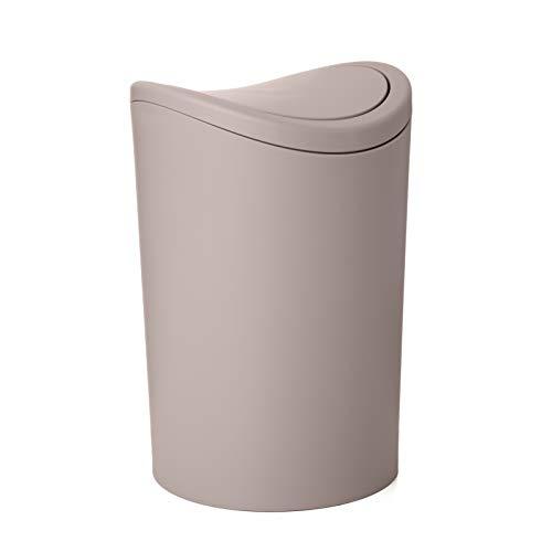 Tatay Papelera Baño con Tapa Basculante, 6L de Capacidad, de Polipropileno, Libre de BPA, Color Taupe, Medidas 19 x 19 x 28...