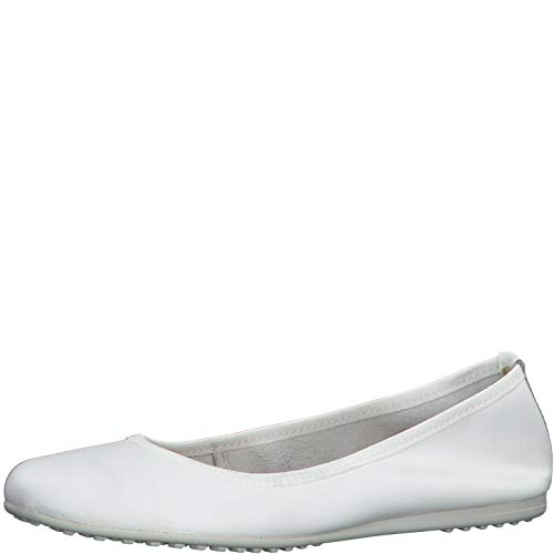 Tamaris Damen Ballerinas 22122-24, Frauen KlassischeBallerinas, leger Flats sommerschuh Gummizug weibliche,White Leather,37 EU / 4 UK