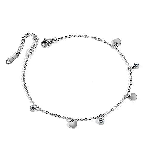 Kim Johanson Tobillera de acero inoxidable para mujer, modelo Fenja, en plata, con circonitas, resistente al agua, joya bohemia, ajustable, incluye bolsa de joyería