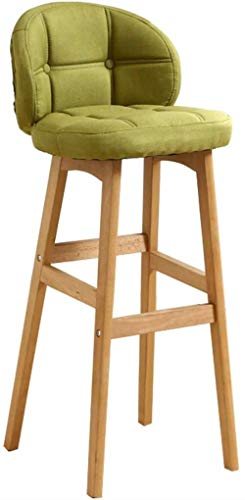 NYDZ Taburete de bar sillas de comedor con respaldo y reposapiés | Cubierta de lino verde para pub/cocina (tamaño 65 cm)