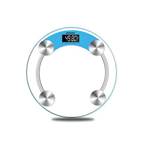BingWS Básculas Digitales Báscula de baño Digital Ultra Delgada, Redonda, Redonda, de Cristal Templado y sensores de Alta precisión Escala de Peso Corporal Monitores de diagnóstico y Salud