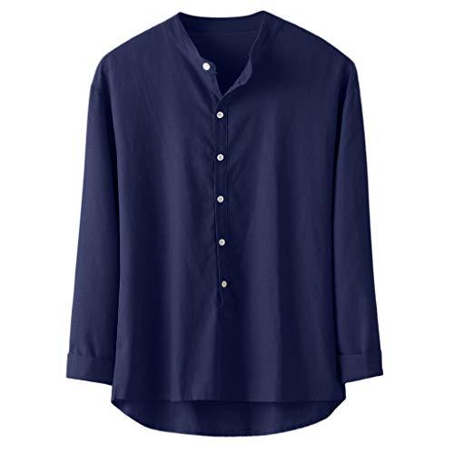 Sunnymi - Camiseta de manga larga para hombre, diseño informal de otoño e invierno marine XXL