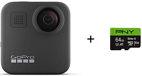 GoPro MAX - Waterproof 360 + Traditional Camera + PNY Elite-X 64GB U3 microSDHC Card (Bundle)