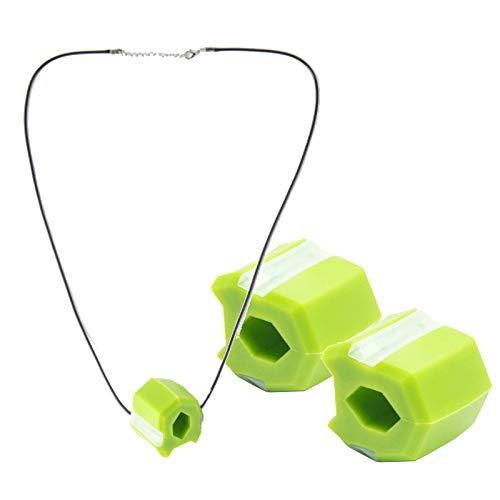 SWWS 3 Piezas por Paquete Jaw Ejercitis Boca Boca Bola de Ejercicios Double Chin Ejercitora Masticar y Cuello Tonificación Dispositivo de Bola, Lanyard Portátil Extraíble Green