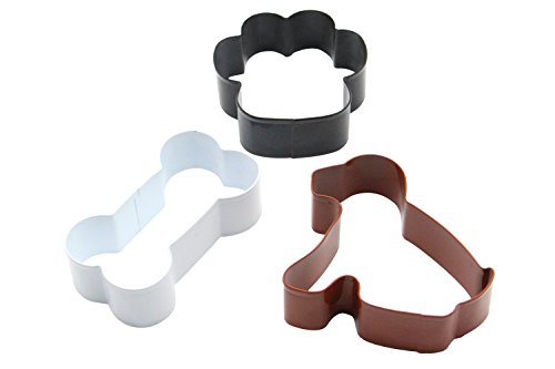3-Piece Dog, Paw Print and Dog Bone Stainless Steel Cookie Cutter Set