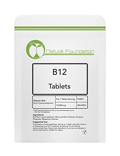Vitamin B12 Tablets 10,000mcg Supplement Weight Loss, Fatigue & Immune System Health   Natural Foundation Supplements (3 Tablet Sample)
