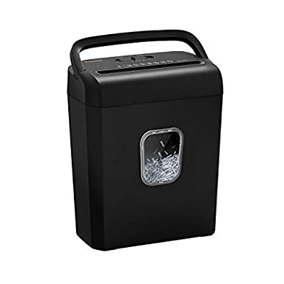 Bonsaii 6-Sheet Micro-Cut Paper Shredder, P-4 High-Security for Home & Small Office Use, Shreds Credit Cards/Staples/Clips, 3.5 Gallons Transparent Window Wastebasket, Black (C234-A)