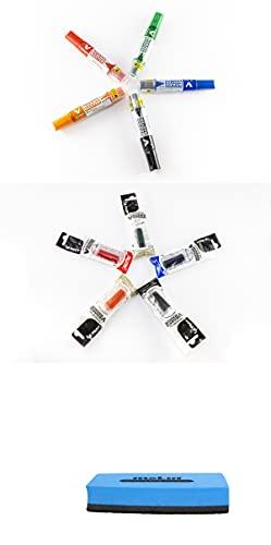 Pilot - 5 Rotuladores para pizarras V Board Master + 5 recambios (colores Azul, Negro, Rojo, Verde y Naranja) + Borrador Magnético-En una practica caja para su mejor conservación