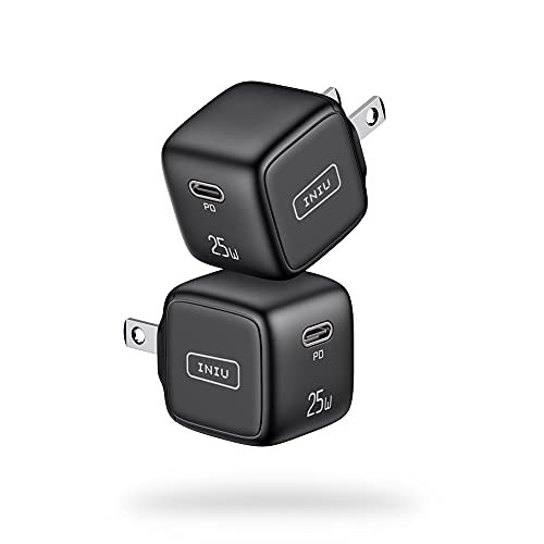 [2 Pack] USB C Charger, INIU 25W PD 3.0 Fast Charging Mini Wall Charger, Universal Power Adapter Plug compatible with iPhone 13 12 11 Pro X 8 Samsung S21 S20 Note 20 iPad Airpods Google LG Tablet etc.