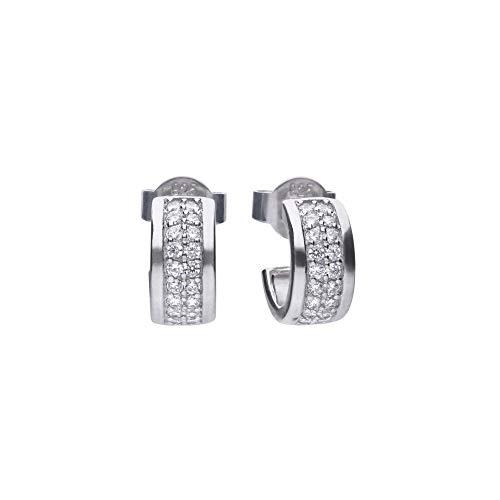Diamonfire Silver White Zirconia Half Creole Earrings E5606