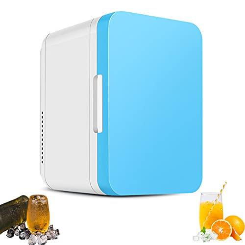 MOZX Mini Kühlschrank 8 Liter, Mini-Kühlschrank Mit Kühl- Und Heizfunktion, Fridge Mit Temperaturregelung Für Schlafzimmer, Kosmetik, Muttermilch, Büro Und Reisen,Blau