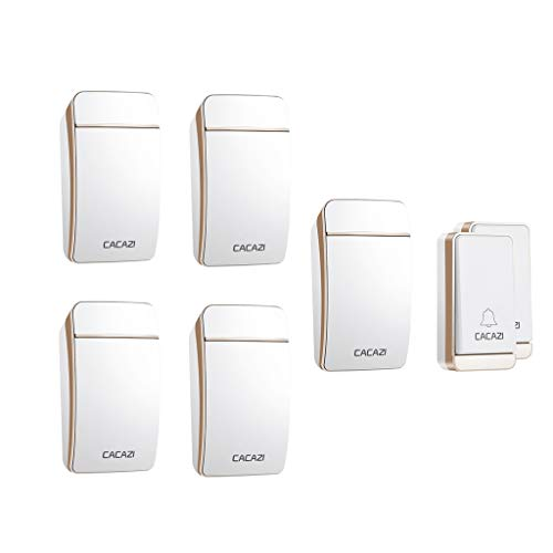 TYXS Wireless Doorbell, Waterproof Cordless Door Chime Kit with 200m Range, 38 Chimes, 3-Level Volume, Best for Door Entry Bell,Gold