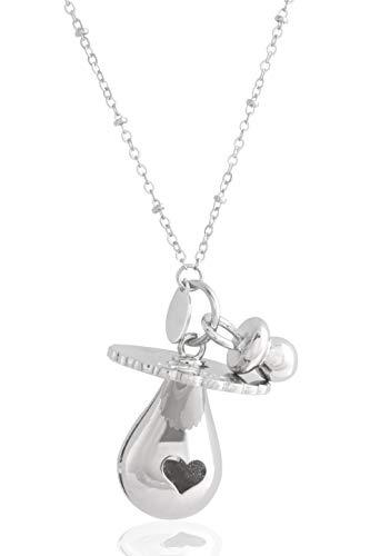 argento/è llamador de /ángeles de Plata con Bola Mexicana en Forma de Chupete Rosa con Chupete aplicado Collar 100 cm