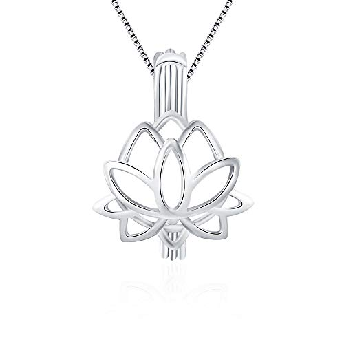 LGSY Lotus Cage Pendants for Pearl Jewelry Making Sterling Silver, Design Pearl Cage Pendants for Adorable Gift